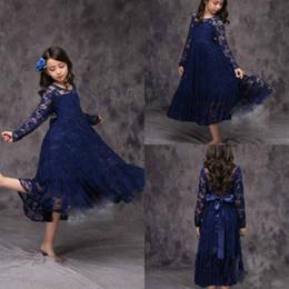 Girls white short sleeve online shopping - 2019Navy Blue Long Sleeve Short Flower Girl Dresses Daughter Lace Birthday Toddler Kids Pageant First Communion Dress Long Baby Prom Dresses