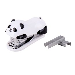 $enCountryForm.capitalKeyWord Australia - Mini Stationery Office Accessories Cute Practical Best Gift With Staples Cartoon Plastic Lovely Panda Stapler Set