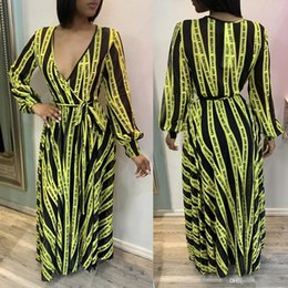 womens african dresses Australia - 2019 African Womens Fashion Designed Letter Printed Deep V-Neck Full Sleeve Chiffon Bandage Top Vacation Maxi Dress Casual Dresses ALS124