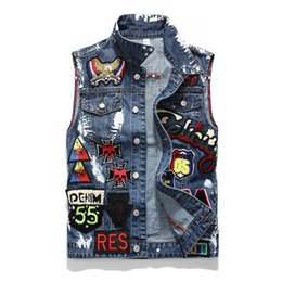 $enCountryForm.capitalKeyWord Australia - Hot Sale Autumn Lover Denim Casual Black Blue Jacket Tops Men's Letters Printing Old Streetwear Cowboy Jacket Sizes M-4XL