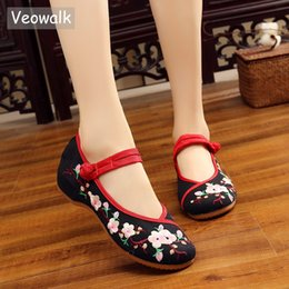 Discount ballet flats handmade shoes - Veowalk Handmade Peach Flower Embroidered Women's Canvas Ballet Flats Vintage Chinese Ladies Casual Old Beijing Buc