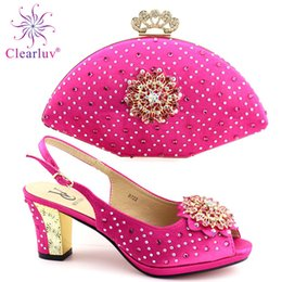 $enCountryForm.capitalKeyWord Australia - Matching Shoes and Bag Set in Heels Ladies Italian Shoes and Bag Set Decorated with Rhinestone Party Shoes and Bag Set for Women