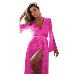 5fd30031fa621 ISHOWTIENDA Women bathrobe Lingerie Babydoll Sleepwear Underwear Lace Coat  Nightwear +G-string lace kimono