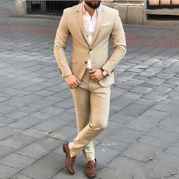 Suits Custom Made Australia - Champagne Business Men Suits for Wedding Suits Man Blazer Custom Made Groom Tuxedos Groomsmen Suits 2Piece Coat Pants Slim Fit Costume Homme