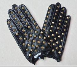 Rivets leatheR gloves online shopping - Women winter fur Genuine Leather Luxury original fashion brand gloves Plush warm sheepskin Sexy cute Half finger Chain Rivet boxing gloves