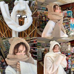 $enCountryForm.capitalKeyWord UK - Winter Korean version of lamb hair thickened cute bear ears warm scarf hat lovers hooded scarf neck women