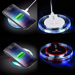 Cell Phone Charge Pad Australia - Cell phone Mini Charge Pad Qi Wireless Charger device Portable mini Fantasy crystal LED Lighting Tablet Charging For iPhopne Samsung ect