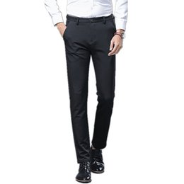 Fly Business UK - Classic Black Men Suit Pants Business Casual Dress Pants Male Formal Office Trousers Zipper Fly Straight Pantalon Costume Homme