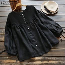$enCountryForm.capitalKeyWord Australia - Zanzea 2019 Spring Vintage Lantern Sleeve Blouse Women Buttons Down Solid Cotton Linen Top Tunic Ruffle Shirt Casual Blusas Robe J190615