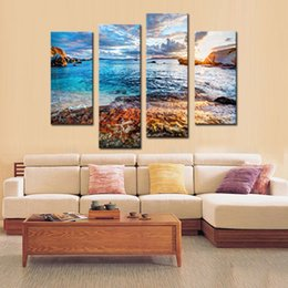 $enCountryForm.capitalKeyWord Australia - 4 Pieces Painting Waves Seaside Scenery Picture Print on Canvas Wall Art for Modern Home Living Room Decor Unframed