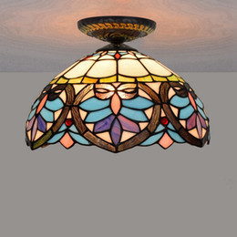 12 Inch European Style Modern Baroque Ceiling Lamp Stained Glass Light For Dining Room Home Decor Tiffany LED Fixtures
