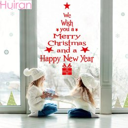 window stickers Australia - Huiran Wall Window Christmas Stickers Christmas Decoration For Home 2019 Merry Ornaments Xmas Happy New Year 2020