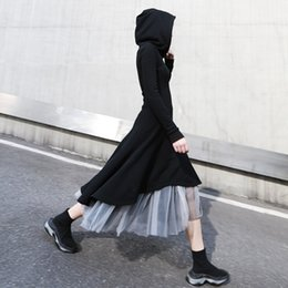 Womens long lace skirts online shopping - Two Piece Sets Female Long Sleeve Asymmetrical Hooded Dresses High Waist Patchwork Mesh Skirt Womens Suits New