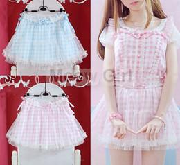 1873906949 Kawaii Girls Moe Plaid Checks Mini Skirt Double Layers Fairy Kei Lolita  Pink   Blue Summer Cute