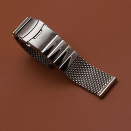 Quality 22mm Bracelet Australia - Shark Mesh Metal Stainless Steel Watch Bracelet Watchband High Quality Solid link 22MM Silver Watch accessories for MECHANIAL WRISTWATCH NEW