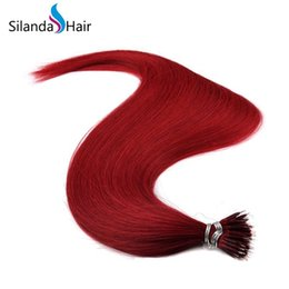 $enCountryForm.capitalKeyWord Australia - Silanda Hair Pre Colored Red Straight Nano bead Loop Link Remy hair Extension 20 Inch 1.0g s 50 strands pack Free Shipping
