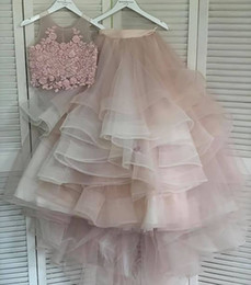Pink bridesmaid dresses crystals online shopping - 2019 Aso Ebi Arabic Sexy Lace Beaded Evening Dresses Two Pieces Prom Dresses A line Cheap Formal Party Second Reception Bridesmaid Gowns