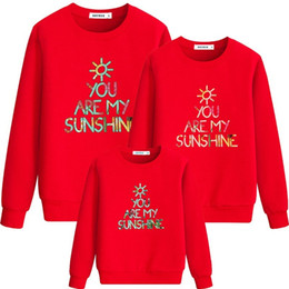Discount pretty outfits - 2019 Warm Family look Dad Mom Kid matching outfits pretty Long Sleeve high street Parent-child Outfit Female wear 01A02C