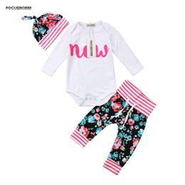 year girls outfits 2020 - lovely Newborn Baby Girls winter Clothes NEW print long sleeve white Romper long belt floral striped Pants New Year Outf