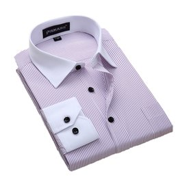 Mens Plus Size Silk Shirts Australia - Quality Plus Size 8xl Slim Fit Long Sleeve Striped Black Button Patchwork White Collar Non-iron Easy Care Mens Dress Shirts