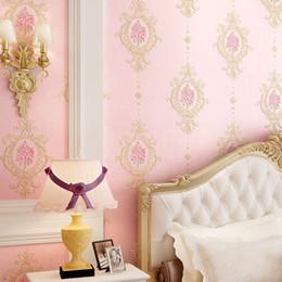 Luxury modern waLLpaper online shopping - Delicate luxury d embossed floral non woven wallpaper European garden flowers warm pink home decor ab version DIY princess room wallpaper