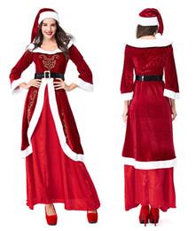 cosplay women s long dresses 2019 - 2018 Woman Christmas Cosplay Dress Long Length Red Cute Dresses Christmas Clothing 3 PCS Free Shipping cheap cosplay wom