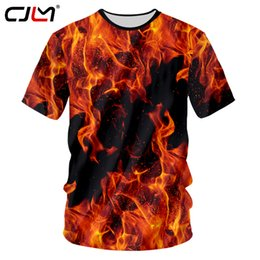 fire printed t shirts NZ - Cjlm New Summer Top 3d Tshirts Print Red Fire Casual T-shirt Man Hip Hop Outwears Shirts Homme Slim Fit Fitness Undershirts 7xl C19042201