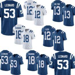 f524fda84c6 53 Darius Leonard 13 Ty Hilton 12 Andrew Luck 18 Peyton Manning Indianapolis  Football Jerseys Colts new 2018-2019