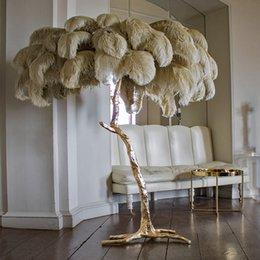 Northern Ostrich Feather Gold Copper Brass Resin Floor Lamp Tripot Standing Lamps For Living Room deco salon Drop ship on Sale