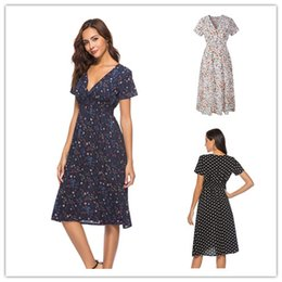 ladies printed beach clothes Canada - Women Flora Dot Print Short Sleeve V-neck Bohemian Dresses Ladies Spring Summer Beach Fashion Dress Girls Skirts Clothes S-2XL New LY303