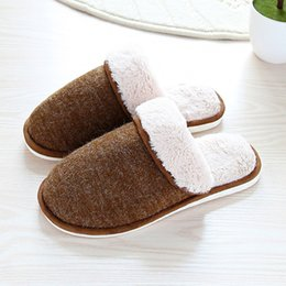 $enCountryForm.capitalKeyWord Australia - House slippers men Plus size 44-47 Winter Velvet Keep warm Fur slippers for male Non slip Wear resistant House shoes men