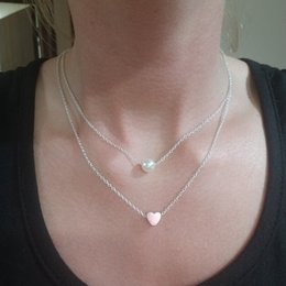 Heart Double Chain Australia - New fashion Imitation pearl love Heart Double layer Clavicle chain necklace women jewelry