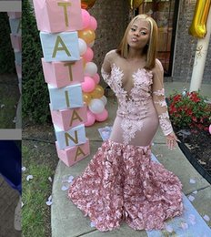 $enCountryForm.capitalKeyWord Australia - 2019 Stunning Sexy African Mermaid Long Sleeves Prom Dresses 3D flowers Backless sexy sheer lace Evening Wear custom made Party Gowns