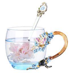 $enCountryForm.capitalKeyWord Australia - High Quality Creative Gift Box Blue Enamel Crystal Carve Models Of Heat-resistant Glass Coffee Cup, Drinking Ware, Household Gift, Wedding