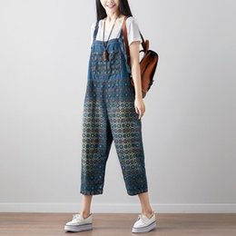 e8c112b3a2c Women Print Washed Vintage Denim Jumpsuits Overalls Pants Ladies Loose  Jumsuits Nice Spring Summer Printing Rompers