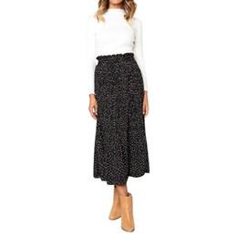 Discount sl dresses - Women Casual Retro High Waist Floral Bohemian pastoral style Long Dress Print dots Skirt faldas mujer moda 2019 #SL