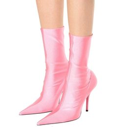 $enCountryForm.capitalKeyWord Australia - Floral Stretch Fabric Women Sock Boots Pointed Toe Mid-Calf Women Boots Brand Design High Heel Women Boots 44 Size