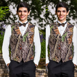 thin trunks UK - 2019 Fashion Camo Wedding Vests Groom Vest Tree Trunk Leaves Spring Camouflage Slim Fit Men Vests Custom Made