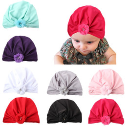 indian hoodies UK - 2019 new baby products children hat chiffon flower knotted headscarf girl Bohemian Indian hat baby hoodie hat candy Newborn baby hair band