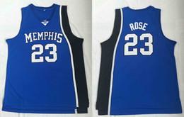 892ed52f6bb Men College #23 Derrick Rose Basketball Jersey Sale Blue University Memphis  Tigers Jerseys stitched College Basketball Jerseys Cheap