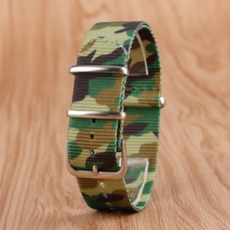 nato leather strap NZ - atches Accessories Watchbands 22mm Fabric Nylon Watchband Outdoor Military Wristwatch Strap NATO Camouflage Replacement with Steel Pin Bu...