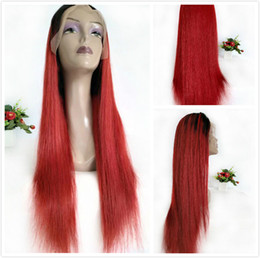 Red Black Long Hair Australia - 1B Red Ombre Wigs Brazilian Human Hair Braided Lace Front Wig For Black Women Pre Plucked Long Straight Glueless Full Lace Wig Colored Red