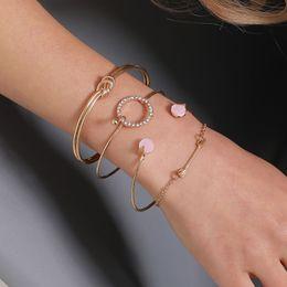 Discount cuff knots wholesale - 4Pcs Set Women's Fashion Rhinestone Knot Circle Arrow Open Bracelet