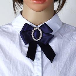 $enCountryForm.capitalKeyWord Australia - New Cute Solid Ribbon Fabric Bow Fashion Tie Flower Pearl Bow tie Pin Women Necktie Collar Shirt Dress Lazos De Cinta