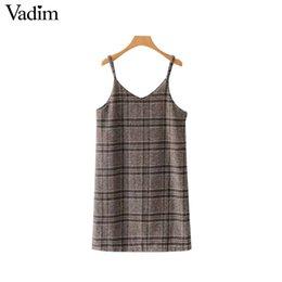 3e3a70528f7 Вадим женщин шикарный плед шерстяное платье в клетку спагетти ремни без  рукавов молнии женские повседневные платья vestidos QA704