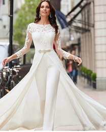 Jumpsuits images modern online shopping - 2020 Long Sleeve White Jumpsuits Wedding Dresses Lace With Overskirts Beads Crystals Plus Size Bridal Gowns Pants Dress Vestidos De Novia