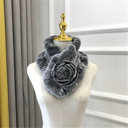 $enCountryForm.capitalKeyWord Australia - Elegant lady fashion winter real rex rabbit fur scarf warm soft 100% natural rabbit fur flowers short Scarves muffler
