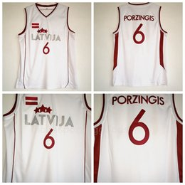 NCAA College Latvija Basketball 6 Kristaps Porzingis Jersey Men White Team  Color For Sport Fans University Breathable Free Shipping 350d27b0c