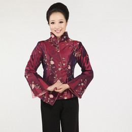 Traditional Suits Australia - New Black Chinese Women's Silk Coat Traditional Embroidered Tang Suit Flower Jacket Tang Suit Top Traditional Chinese Clothing