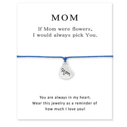 mothers days cards Australia - Handmade Rope Charm Bracelets for Mother day Statement Best Wish Jewelry Mom Gift With Card Free Shipping